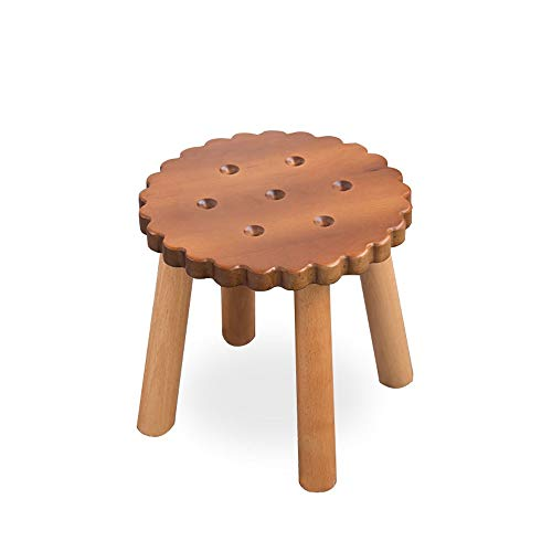 KOIUJ Massivholz-Schuh Bench Hocker Kinder Erwachsener Hocker Wohnzimmer Haus Kleine Bank Sofa Tee Tisch Stuhl (Farbe: braun)
