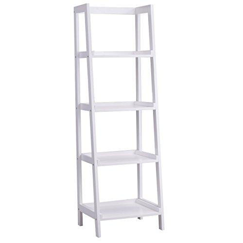 GOPLUS Standregal 4 Ablagen, Bücherregal weiß, Leiterregal aus Holz, Treppenregal für Wohnzimmer,...