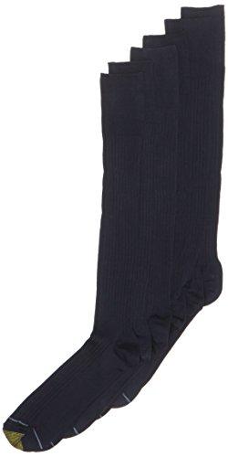 Gold Toe Men's Canterbury Over the Calf Dress Sock (2 PK (6 PAIRS), Navy)