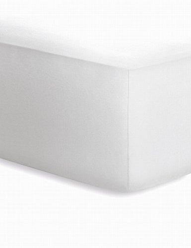 schlafgut Jersey-Elasthan Boxspring Spannbetttuch, Baumwoll-Mischgewebe, Weiss, 220 x 200 cm