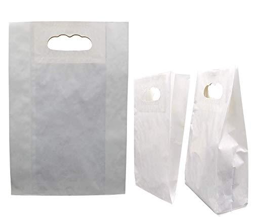 50stk Papiertüten weiß – 22 x 32 x 8 cm Papiertragetasche mit Griffloch, Papiertüten klein, Geschenktüten Weiß, DIY Adventskalender, Kraftpapier tüten (weiß, 22x32x8 60g/m2)