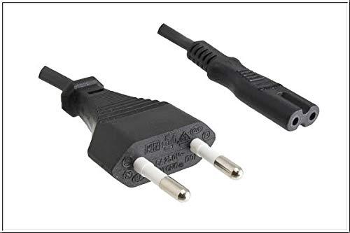 DINIC Stromkabel, Netzkabel Euro-Stecker auf C7, 2-pin Euro-8 (0,50m, 1 Stück, schwarz)