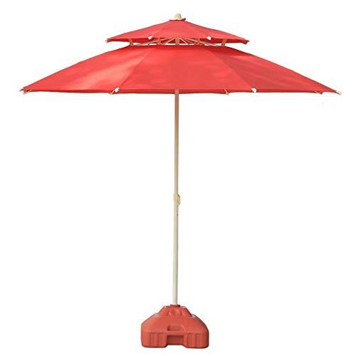 GBTB Sombrillas Patio Doble de 7.5 pies / 9 pies, Sombrilla para Exteriores para sombrillas de Playa/Piscina/jardín Protector Solar Redondo, Sombrilla Resistente al Agua/UV (Color: Rojo, Ta