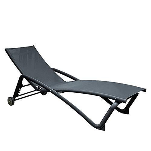 LIXIAOHONGG Silla reclinable de verano con cojines acolchados y reposapiés para jardín, camping, piscina, playa (color: gris)