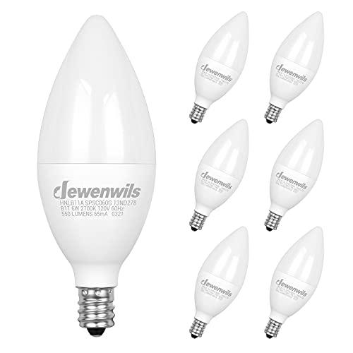 DEWENWILS E12 LED Candelabra Bulbs, Candle Light Bulbs, 6 Watt (60 Watt Equivalent), 550 Lumens, Warm White 2700K, Chandelier Light Bulbs, Ceiling Fan Light Bulbs, Non-dimmable, Pack of 6