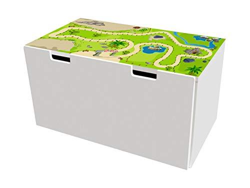 Zoo Möbelfolie   BTD12   Möbelaufkleber mit Tierpark-Motiv   passend für die Kinderzimmer Banktruhe STUVA von IKEA (90 x 50 cm)   Möbel Nicht Inklusive   STIKKIPIX