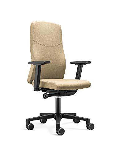 Ergonomischer Bürostuhl BASIC mit Stoffbezug in Ocker. Ergonomisch und bequem sitzen dank vielfältiger Einstellmöglichkeiten.