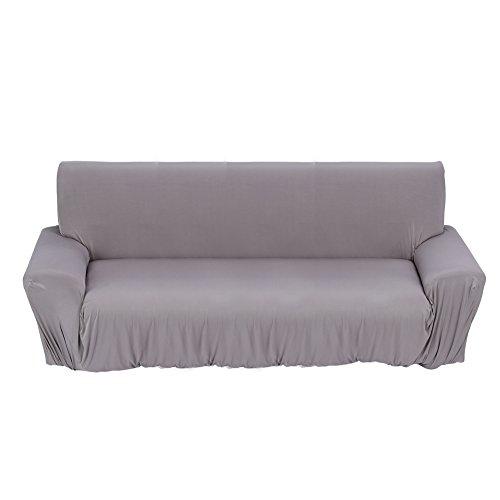 Gototop Sofabezug, Stoff, dehnbar, einfarbig, für Wohnzimmer 1, 2, 3-Sitzer (grau, 3-Sitzer: 190 ~ 230 cm)