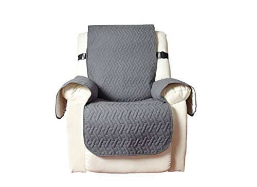 """Luacsef Waterproof Oversized Recliner Chair Covers for Armchairs Recliner Covers Reclining Chair Covers Protect from Pets/Dogs, Soft Quilted and Non Slip Strap (Oversized Recliner /82""""×91"""", Grey)"""
