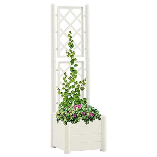 Tidyard Fioriera da Giardino con Graticcio 43x43x142 cm per Piante Vaso Scatola Fiori Balcone Giardino Contenitore,Colore Bianco