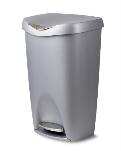 Umbra Brim 13 Gallon Trash Can with Lid - Large Kitchen Garbage Can with Stainless Steel Foot Pedal, Stylish and Durable, Silver/Nickel -  084200-410