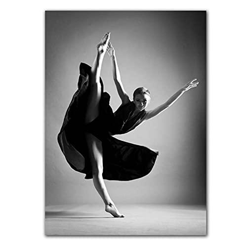 Pintura en lienzo para niñas en blanco y negro, joven y hermosa bailarina, bailarina, póster de niña, impresiones, imagen para decoración del hogar del dormitorio -50x70cmx1pcs - Sin marco