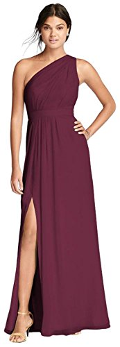 David's Bridal Long One-Shoulder Crinkle Chiffon Bridesmaid Dress Style F18055, Wine, 14