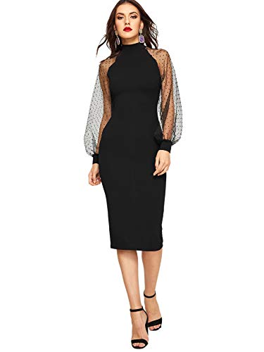 Romwe Women's Mock Neck Long Mesh Sleeve Zipper Back Sheath Dress Black Small
