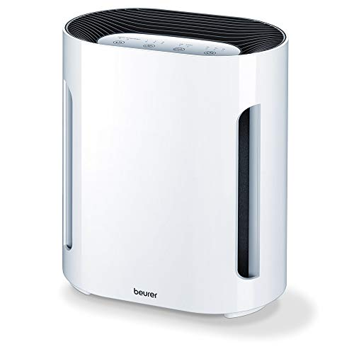Beurer LR210 - Purificador de aire, hasta 26 m², ventilación, 3 niveles de filtración, función iónica, display iluminado, temporizador, filtro Hepa 13, 60 W, blanco