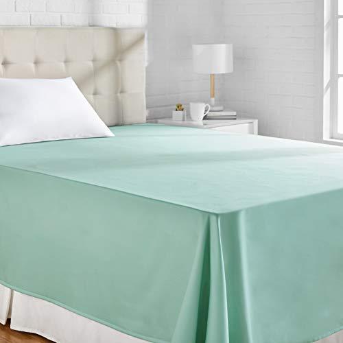Amazon Basics Bettlaken, Baumwoll-Satin Fadenzahl 400, knitterarm, 275 x 275 + 10 cm - Meeresgrün