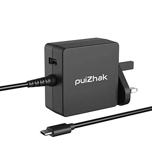 PuiZhak Universal PD Quick Charge 65W USB-C Replacement Charger With 1 USB Slot 1.8M Cable FOR Acer Swift 7, Spin 7, Switch Alpha 12, Acer Chromebook 14, R13, Aspire V 13, HP, Dell & USB-C Devices