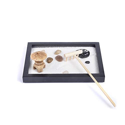 DIYARTS Meditación Zen Sandbox Espiritual Zen Garden Sand Kit Feng Shui Rastrillo Guijarros Escena Natural Bandeja De Madera Decoración Piedra Espiritual Arena Paisaje
