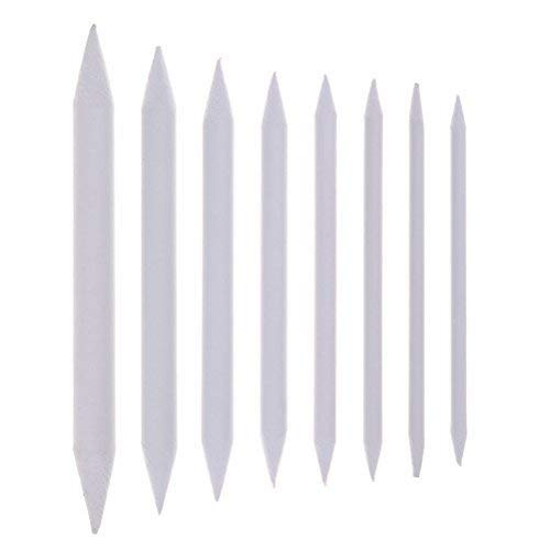 Buytra 8 Pieces Blending Stumps and Tortillons Set Art Blenders Sticks for Drawing, Sketch, Colored Pencils, White, 8 Sizes