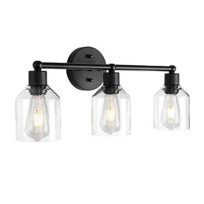 Black Bathroom Vanity Light Fixtures Over Mirror Vintage Bathroom Wall Lighting with Clear Glass Shades (3 Lights)