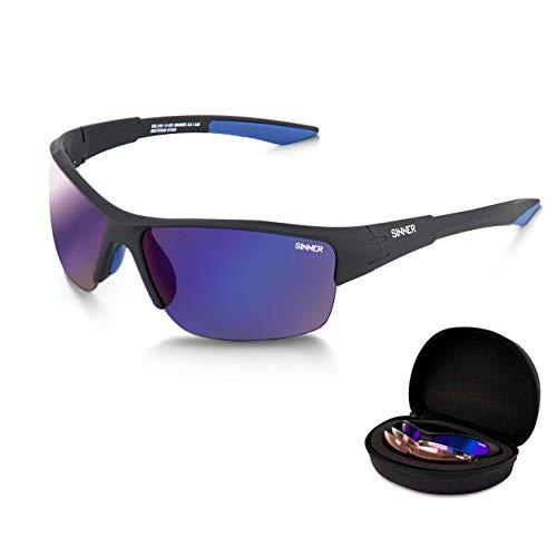 Sinner Reyes CX Matte Black 3x Lentes FOC Hard Case Gafas de sol