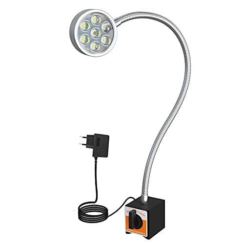 Luce da lavoro magnetica da 700 lumen con angolo flessibile di 20 pollici, base regolabile per banco girevole CNC, trapano per goffratura, lavorazione del legno, illuminazione industriale