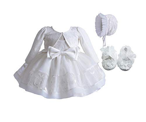 Cinda Elfenbein Spitze Taufe Partei Kleid Mütze Jacke 62-68 mit Bolero und Schuhen