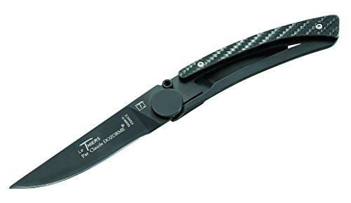 Claude Dozorme Le Thiers couteau manche noir, lame, X50CrMoV15 série acier, revêtement fibres de carbone, clip ceinture