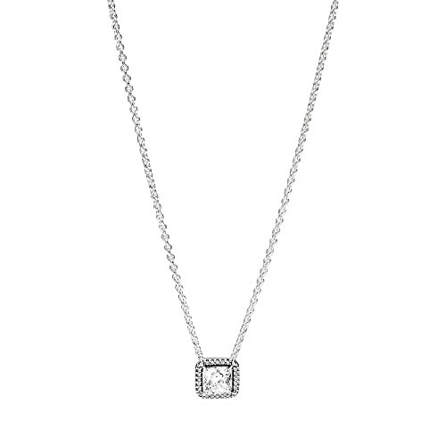 Pandora Jewelry - Square Sparkle Halo Necklace in Sterling Silver with Clear Cubic Zirconia, 17.7 IN / 45 CM