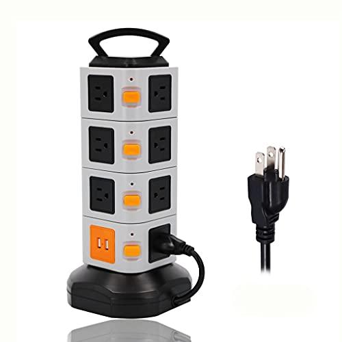 YWSZJ Torre Power Strip Vertical Extensiones OUTETS OUTE Protector 2500W 10A Socket con Cable De Extensión USB 2M / 6.5FT para La Oficina En Casa (Color : 4 Layer)