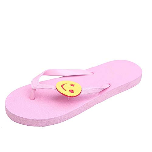 Nuevo desgaste chanclas flores de la manera sandalias y zapatillas playa for señoras plana zapatillas fuera de la Mar Plataforma ocasional de moda zapatillas abrir-punt ( Color : Pink , Size : 37-38 )