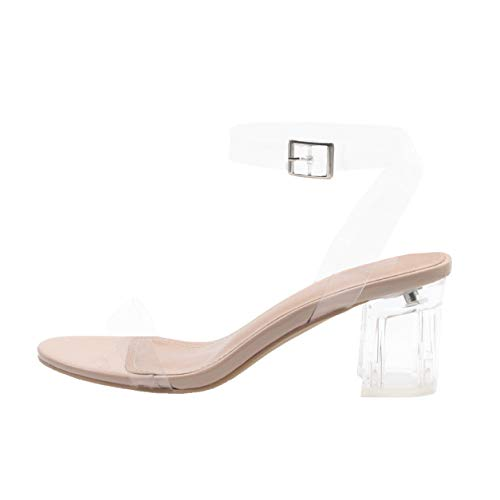 Cape Robbin Wisdom Clear Chunky Block Low Heels for Women, Transparent Strappy Open Toe Shoes Heels for Women - Nude Size 10