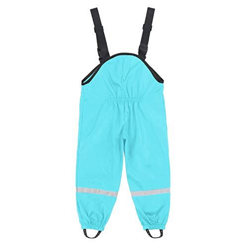 OWAGNK Pantalones de peto de lluvia unisex para niños, pantalones para vestir para niños, resistentes al viento y al agua, pantalones con peto de lluvia para niños, transpirables verde menta 24 meses