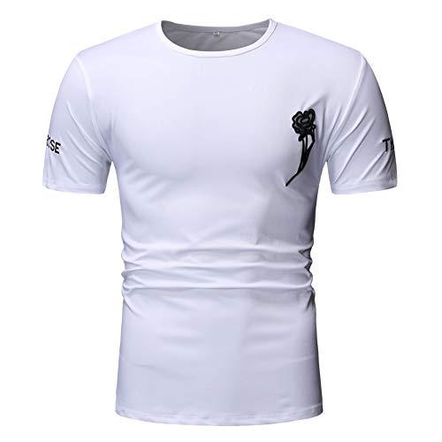 XJWDTX Zomer Effen Kleur Heren Coltrui Ronde Kraag Geborduurde Bloemen Jeugd Korte Casual T-Shirt