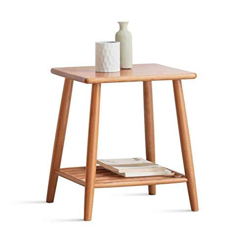 H-CAR Mesa auxiliar de centro de madera maciza, mesa auxiliar pequeña cuadrada con estante de almacenamiento, sofá de esquina, mesita de noche, mesita de noche, sofá, mesa auxiliar