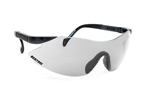Bertoni Occhiali da Protezione tiro poligono con Lente Antiurto e aste Regolabili AF185S Italy (Nero Perla - Lente Trasparente Specchio)