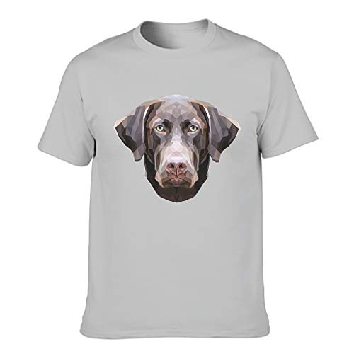 Camiseta de manga corta para hombre, diseño de perro Gris plateado. L
