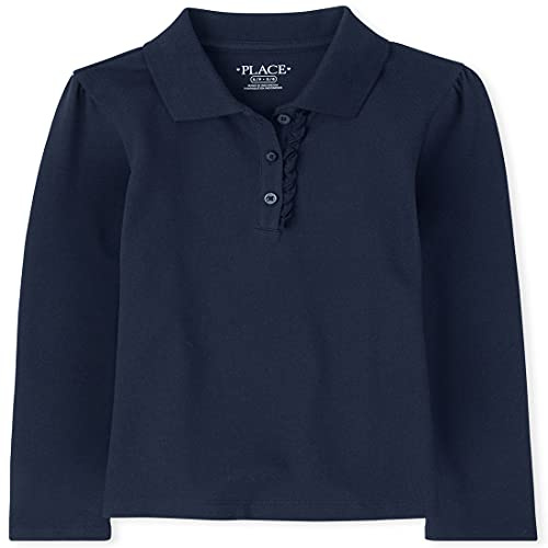The Children's Place Girl's Long Sleeve Ruffle Pique Polo, Tidal, Small