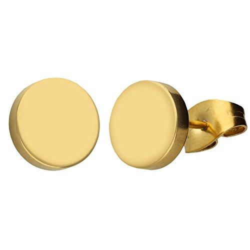 MYA art Damen Ohrringe Ohrstecker Stecker Edelstahl Vergoldet Platte mit Kreis Rund Minimalistisch Geometrische Formen Gold Glänzend 10mm MYAGOOHR-44