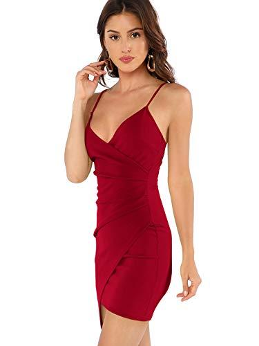 Soly Hux - Vestido corto ajustado para mujer, sin mangas, con tirantes, elegante, asimétrico, con pliegues rojo L