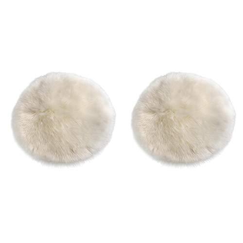 LOVIVER 2pcs Künstliche Schaffell Teppich Lammfell Kunstfell Dekofell Weiß Grau Matte Sitzkissen Kinderteppiche, weich und kuschelig - Weiß