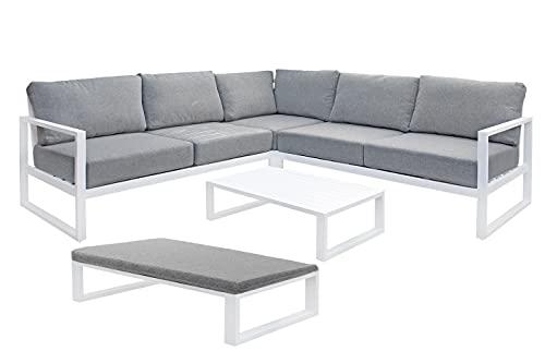 Muebletmoi - Salón de jardín 1 sofá esquinero, 1 mesa baja, aluminio blanco y cojines de tela gris jaspeado – Estilo Lounge – Puerto