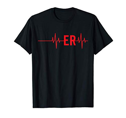 Emergency Medicine Physician Nurse Gift ER Heartbeat T-Shirt