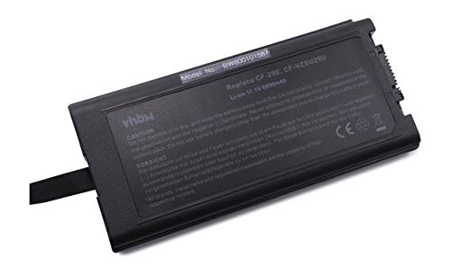 vhbw Batterie LI-ION 6600mAh 11.1V Noir Compatible pour PANASONIC ToughBook CF-29, CF-51, CF-52 remplace CF-VZSU29, CF-VZU29A