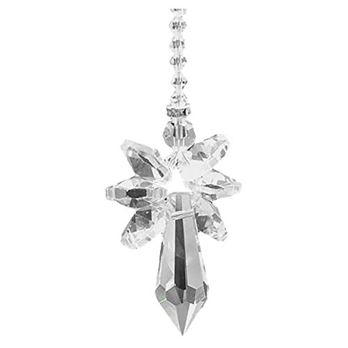 Modern Rainbow Crystal Angel Chakra Suncatcher Car Charm Pendant for Auto Rear View Mirror Hanging Decoration Home Office Decoration Gift for Friends (F)