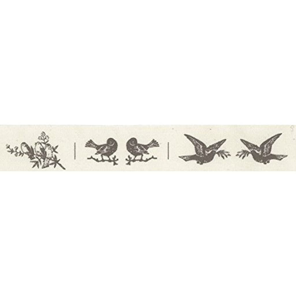Vaessen Creative Printed Ribbon, Fabric, Ecru/Black, One Size