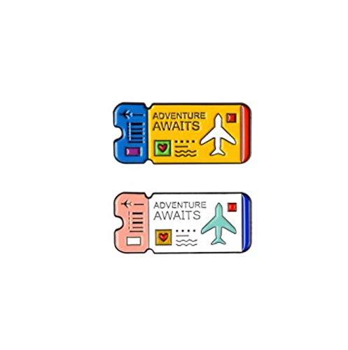 Jewelry Aventura Air Tickets Pins Pareja Amante Pines Lindo Broches Insignias Denim Bolsa Denim Pines Regalos para Amigos Set
