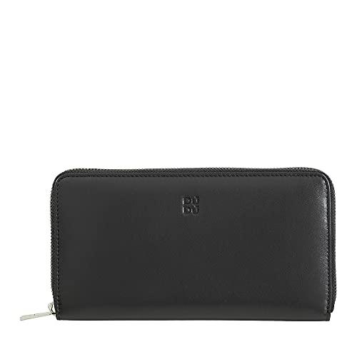 portafoglio con zip DUDU Portafoglio donna grande RFID di vera pelle colorato zip around Nero