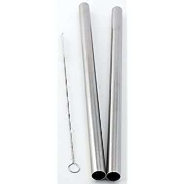 2 BOBA Straw Stainless Steel Extra Wide 1/2  x 9.5  Long Tapioca Pearl Bubble Tea Thick FAT - CocoStraw Brand