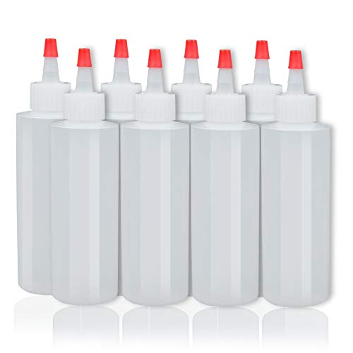 8-pack Plastic Squeeze Condiment Bottles - 4 Ounce with Red Tip Cap - Perfect for Ketchup, BBQ, Sauces, Syrup, Condiments, Dressings, Arts and Crafts